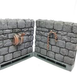 Descargar archivo 3D gratis Muros de piedra de mazmorra con palancas y cadenas, AJade