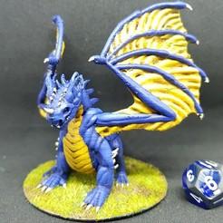 Descargar modelos 3D gratis Dragón azul para juego de rol de mesa de 28 mm, AJade