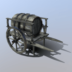 Download 3D printer designs Low-Poly Barrel Cart, SimonTGriffiths