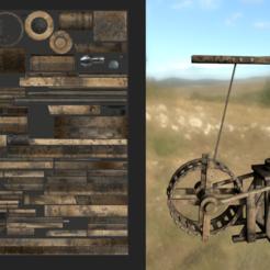A0.png Télécharger fichier OBJ Grue sur roues médiévale • Design pour imprimante 3D, SimonTGriffiths