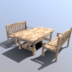 Download 3D printer templates Pine bench and table set, SimonTGriffiths