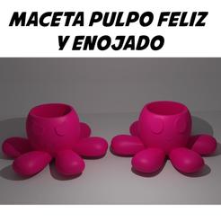 PORTADA macetas pulpo.png Download OBJ file HAPPY AND ANGRY OCTOPUS POT - REVERSIBLE OCTOPUS • 3D printable model, aprendolol