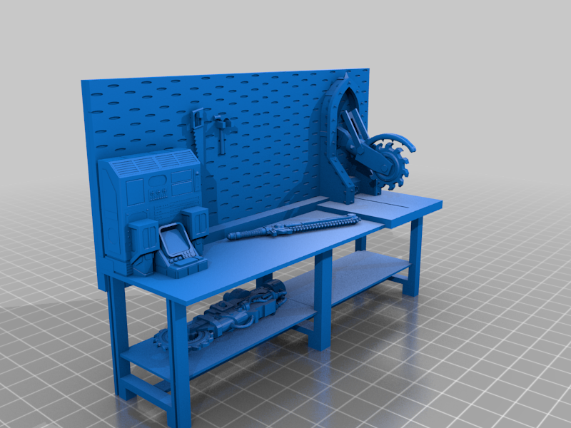 workbench_geared.png Download free STL file 40k Necromunda Warhammer Workbench Set • Template to 3D print, 40Emperor