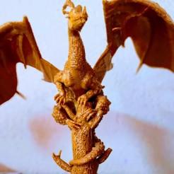 Télécharger objet 3D Un dragon sur un arbre cassé, PRAN3D