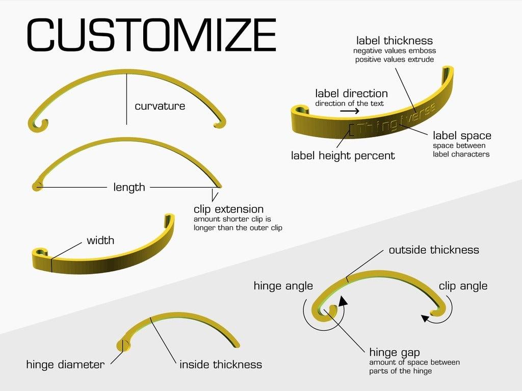customize.jpg Download free SCAD file Customizable Bag Clip • 3D printable design, WalterHsiao