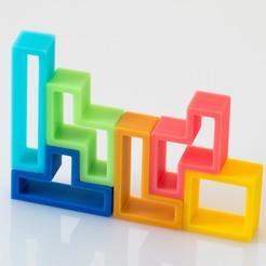 Download free 3D printing templates Tetris Bookshelf, WalterHsiao