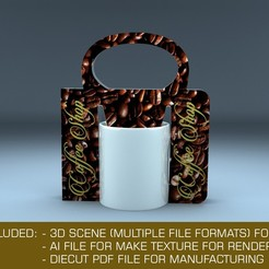 Download 3D model Creative holder box for mug 3D mockup with diecut 3D model 3D model, MetGraphics
