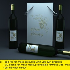 Download STL Triangle paper bag for three wine bottles 3D model 3D model, MetGraphics