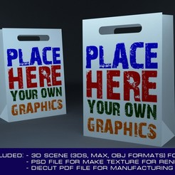 Preview1.jpg Download OBJ file Paper shopping bag 3D mockup with diecut 3D model • Template to 3D print, MetGraphics