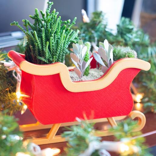 Download free 3D print files Christmas Sleigh Decor/Planter, MikeFiveTango