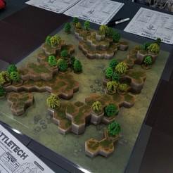 Download free STL Battletech Grasslands #3 Hex Hills, Thunderhead_Studio