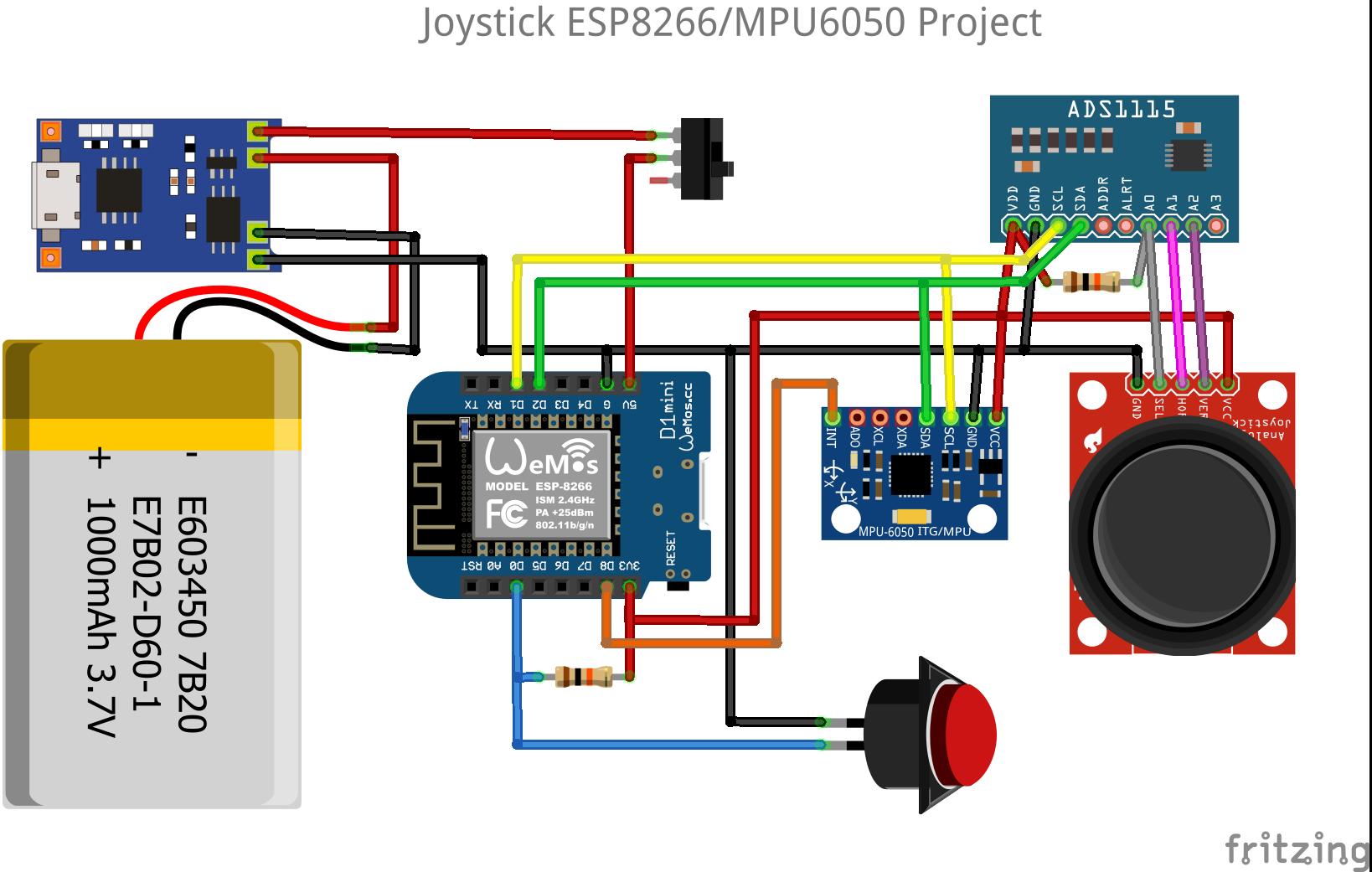 Joystick_ESP8266_V2.png Télécharger fichier STL gratuit Joystick ESP8266 / MPU6050 • Plan imprimable en 3D, Frederic_JELMONI