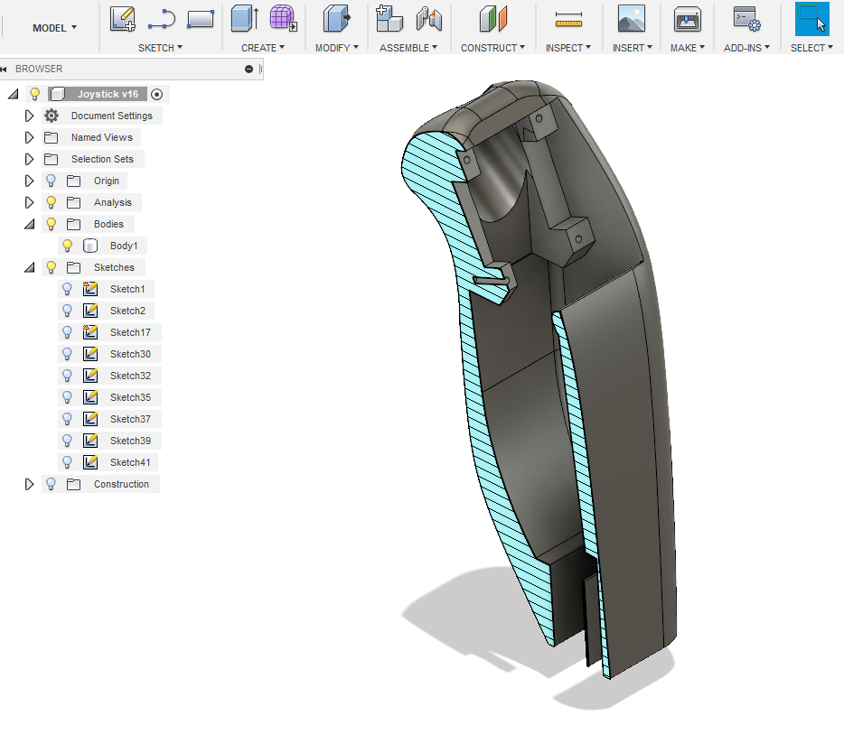 Joystick_Fusion360_2.PNG Télécharger fichier STL gratuit Joystick ESP8266 / MPU6050 • Plan imprimable en 3D, Frederic_JELMONI
