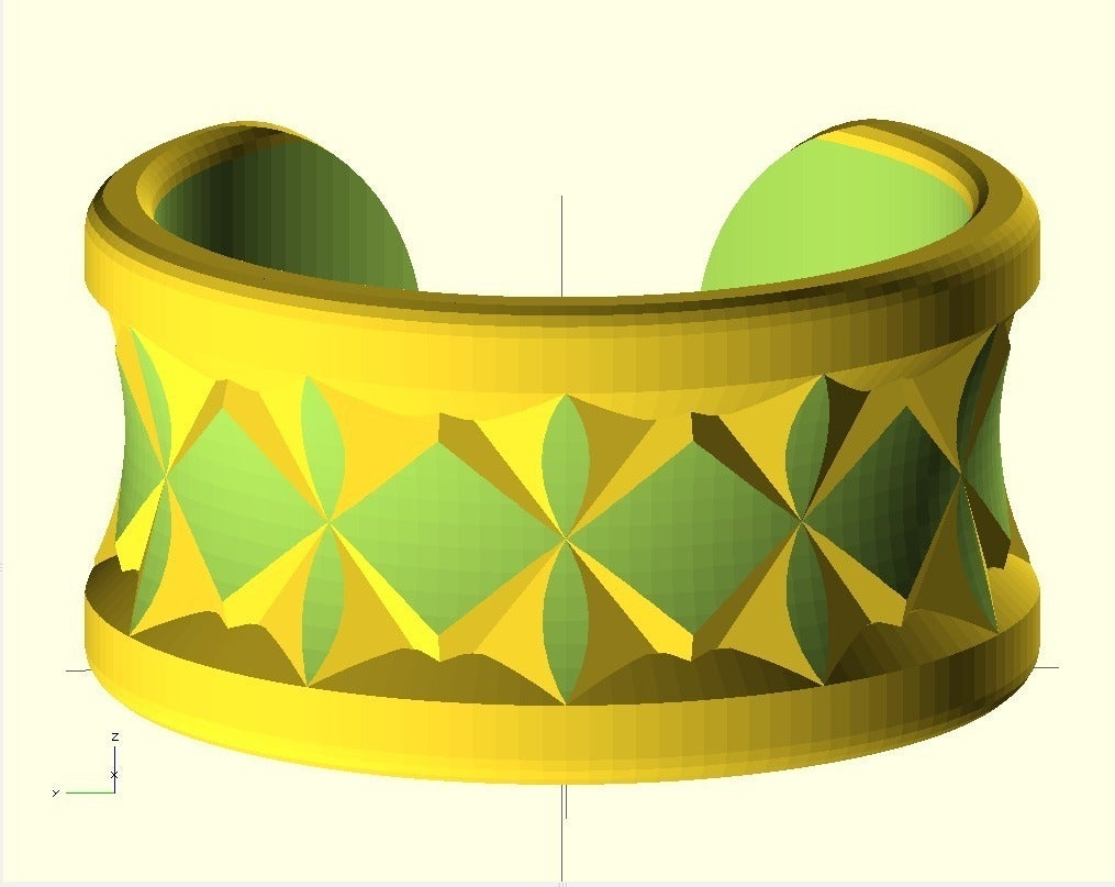kno2_display_large.jpg Download free SCAD file Knurled Bracelet No2 • 3D print template, Wachet