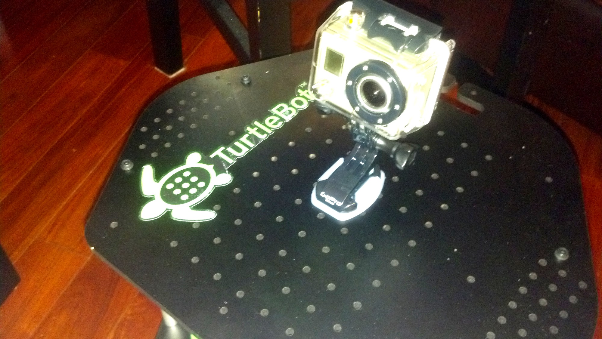 turtlebot2-gopro-mount-installed.jpg Download free STL file GoPro mount for Turtlebot 2 top plate • 3D printing object, Nessun_Dorma