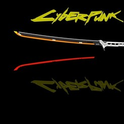 cyberpunk katana Render 2.JPG Download STL file Cyberpunk 2077 Katana • 3D printer template, stanlinz