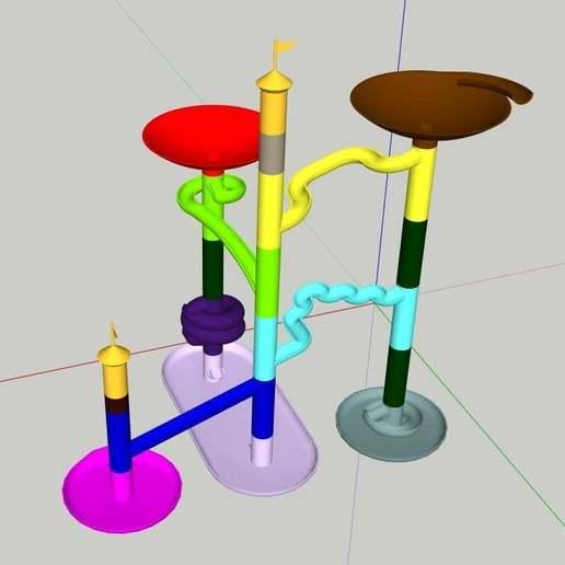 Télécharger fichier STL gratuit Piste à billes haute droite • Modèle pour imprimante 3D, Liszt
