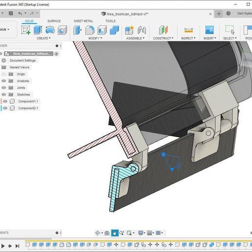 fusion360_ikeahinge.JPG Télécharger fichier STL gratuit Charnière de couvercle de poubelle IKEA VARIERA • Objet pour imprimante 3D, fusefactory
