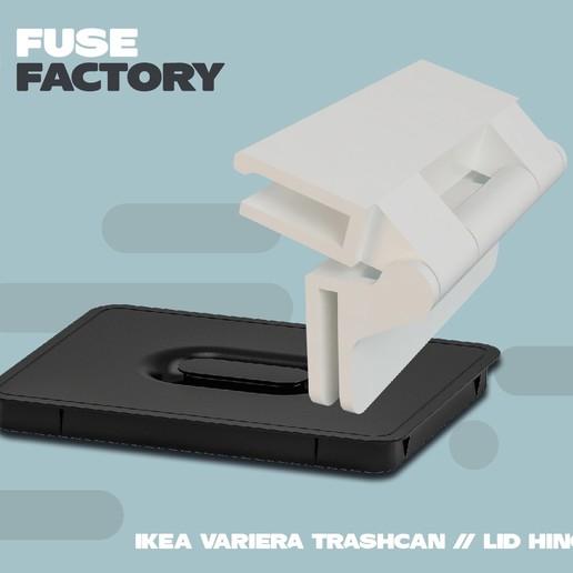 fusefactory_thingiverse_instagram_hinge-01.jpg Télécharger fichier STL gratuit Charnière de couvercle de poubelle IKEA VARIERA • Objet pour imprimante 3D, fusefactory