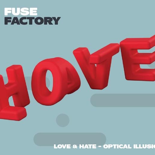 fusefactory_thingiverse_instagram_lovehate-01.jpg Télécharger fichier STL gratuit L'amour et la haine - illusion d'optique • Modèle pour impression 3D, fusefactory