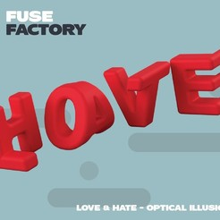 fusefactory_thingiverse_instagram_lovehate-01.jpg Download free STL file Love Hate - optical illusion • 3D printing template, fusefactory