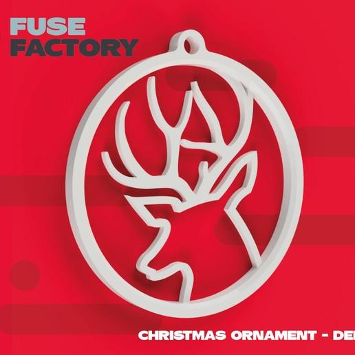 fusefactory_thingiverse_instagram_deer-01.jpg Download free STL file Deer - Christmas ornament • 3D print object, fusefactory