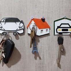 Télécharger fichier STL gratuit Porte-clés pour la maison, la voiture et le garage • Design à imprimer en 3D, 3Des_Eng