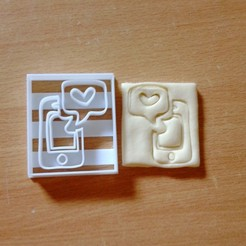 Download STL cellphone with heart notification message cookie cutter, laraI22