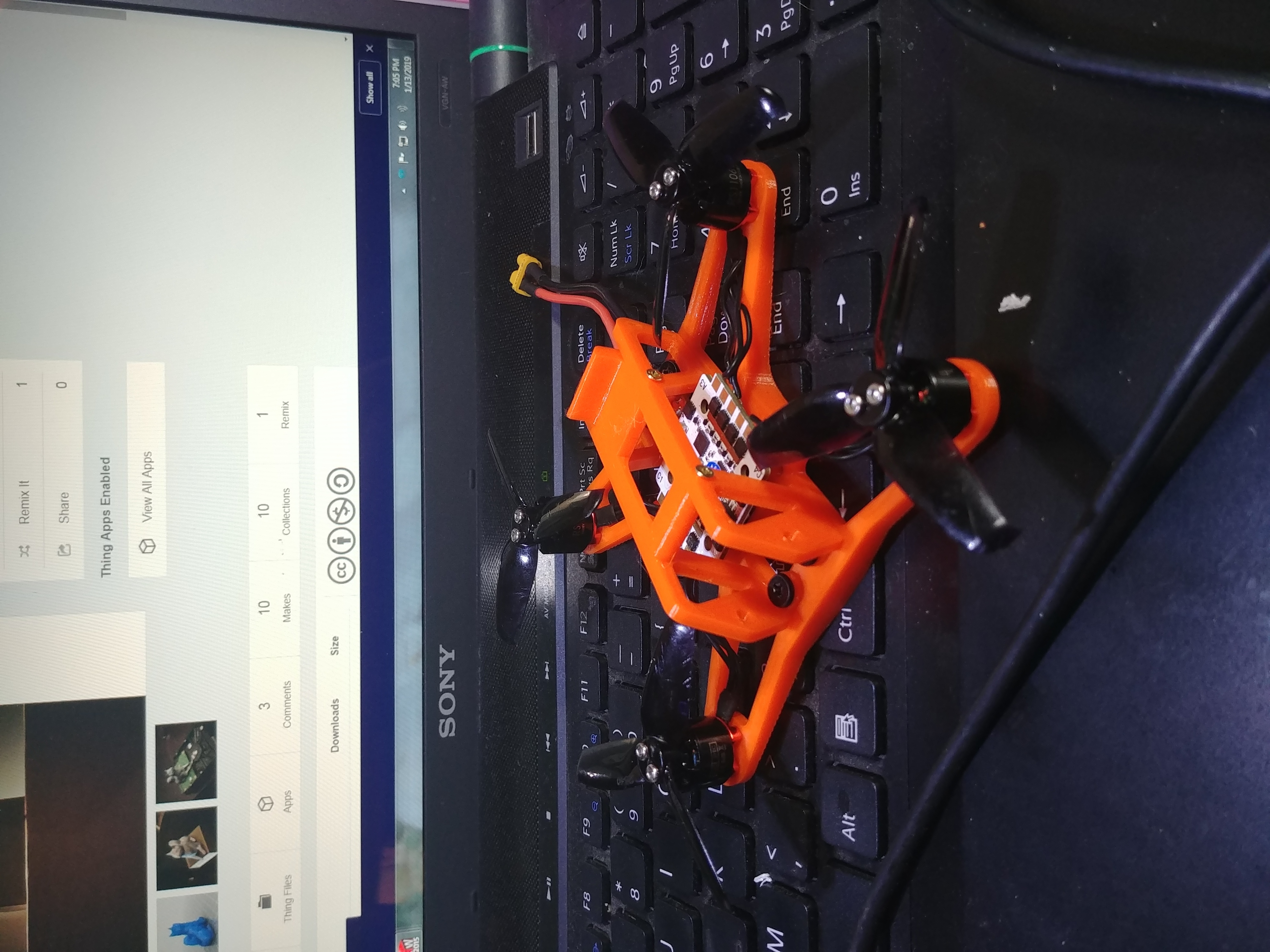"20190113_190521_HDR.jpg Download free STL file 115mm 2.5"" drone quadcopter frame • Object to 3D print, CURLY686"