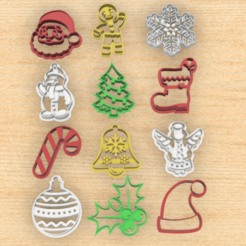 set x12 cortantes navideños.png Download STL file Pack x12 Cutters for Christmas cookies • 3D printer design, 3dokinfo