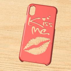 Case Iphone X y XS Kiss me.png Télécharger fichier STL Etui Iphone X/XS Embrasse-moi • Modèle pour impression 3D, 3dokinfo