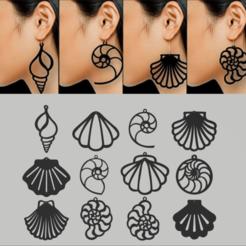 Descargar modelo 3D Pack x 12 motivos de pendientes de caracoles y ostras, 3dokinfo