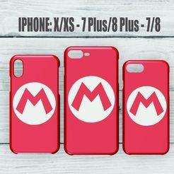 Imprimir en 3D CASE IPHONE 7/8 - 7/8 PLUS - X/XS LOGO MARIO BROS, 3dokinfo