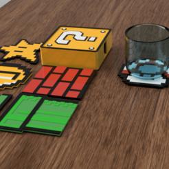 coaster mario.png Download STL file Set X6 Coaster Mario Bros • 3D printer model, 3dokinfo