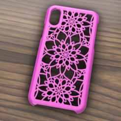 Case Iphone X y XS motive flowers.png Télécharger fichier STL Etui Iphone X/XS fleurs • Objet pour imprimante 3D, 3dokinfo