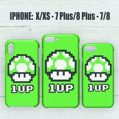 Descargar diseños 3D CASE IPHONE 7/8 - 7/8 PLUS - X/XS 1UP MARIO BROS, 3dokinfo