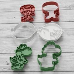 Download 3D printer designs Set x3 Mario Bros. cutters, 3dokinfo