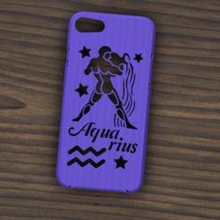 Download STL file Case Iphone 7/8 Aquarius sign, 3dokinfo