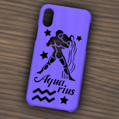 Descargar diseños 3D Case Iphone X/XS Aquarius sign, 3dokinfo
