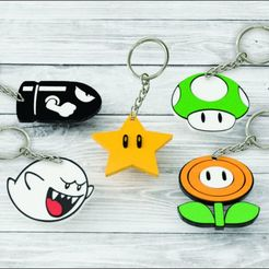 Download 3D printing templates PACK X5 KEYCHAIN MARIO BROS, 3dokinfo