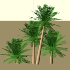 Objet 3D fichier scad contenant les fonctions pour obtenir des palmiers type phoenix, Rem38