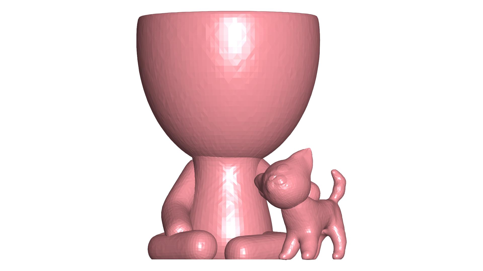 Robercat_6.png Télécharger fichier STL gratuit Vase Robert Planter avec l'animal de compagnie n° 111 • Design imprimable en 3D, CREATIONSISHI