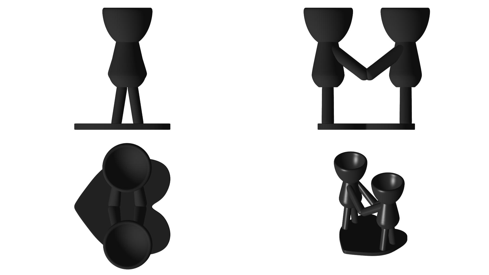 Enamorados_N4_Negro_2.png Télécharger fichier STL gratuit N° 4 VASE POT DE FLEURS ROBERT IN LOVE • Plan à imprimer en 3D, CREATIONSISHI