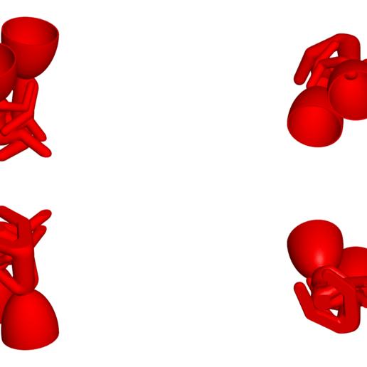 200_Enamorados_Rojo_2.png Télécharger fichier STL gratuit N° 200 VASE POT DE FLEURS ROBERT IN LOVE • Plan pour imprimante 3D, CREATIONSISHI