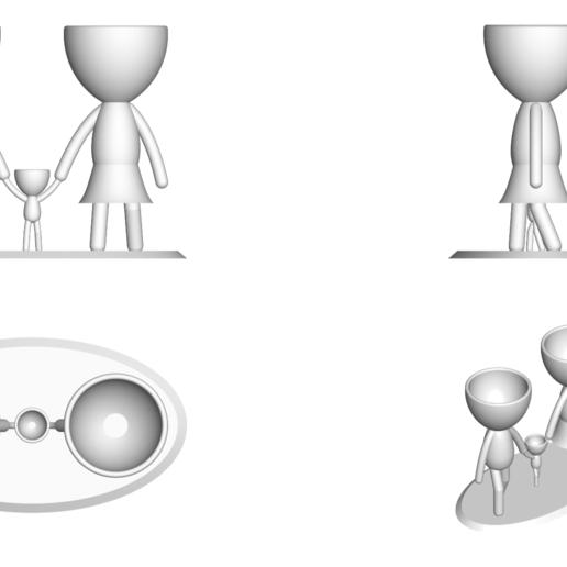 Familia_Blanco_2.png Télécharger fichier STL gratuit Vase de la famille de Robert Vase de fleurs Mère Papa Fils / Fille • Plan pour imprimante 3D, CREATIONSISHI