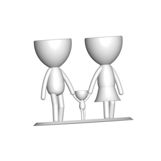 Familia_Blanco_1.png Télécharger fichier STL gratuit Vase de la famille de Robert Vase de fleurs Mère Papa Fils / Fille • Plan pour imprimante 3D, CREATIONSISHI