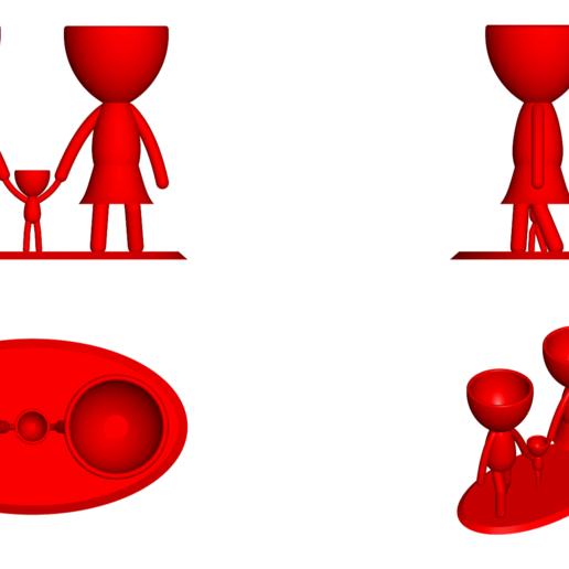 Familia_Rojo_2.png Télécharger fichier STL gratuit Vase de la famille de Robert Vase de fleurs Mère Papa Fils / Fille • Plan pour imprimante 3D, CREATIONSISHI