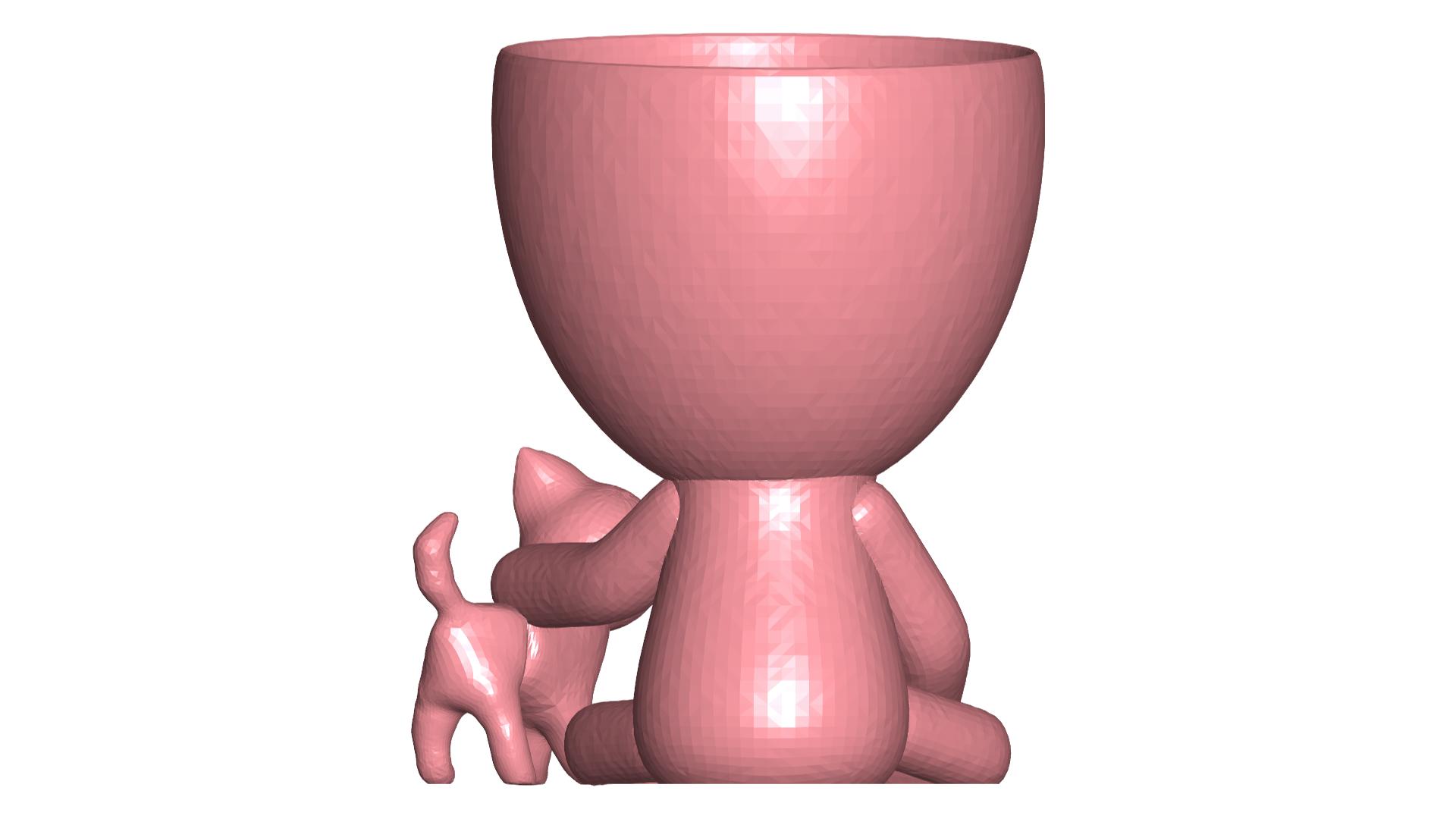 Robercat_5.png Télécharger fichier STL gratuit Vase Robert Planter avec l'animal de compagnie n° 111 • Design imprimable en 3D, CREATIONSISHI
