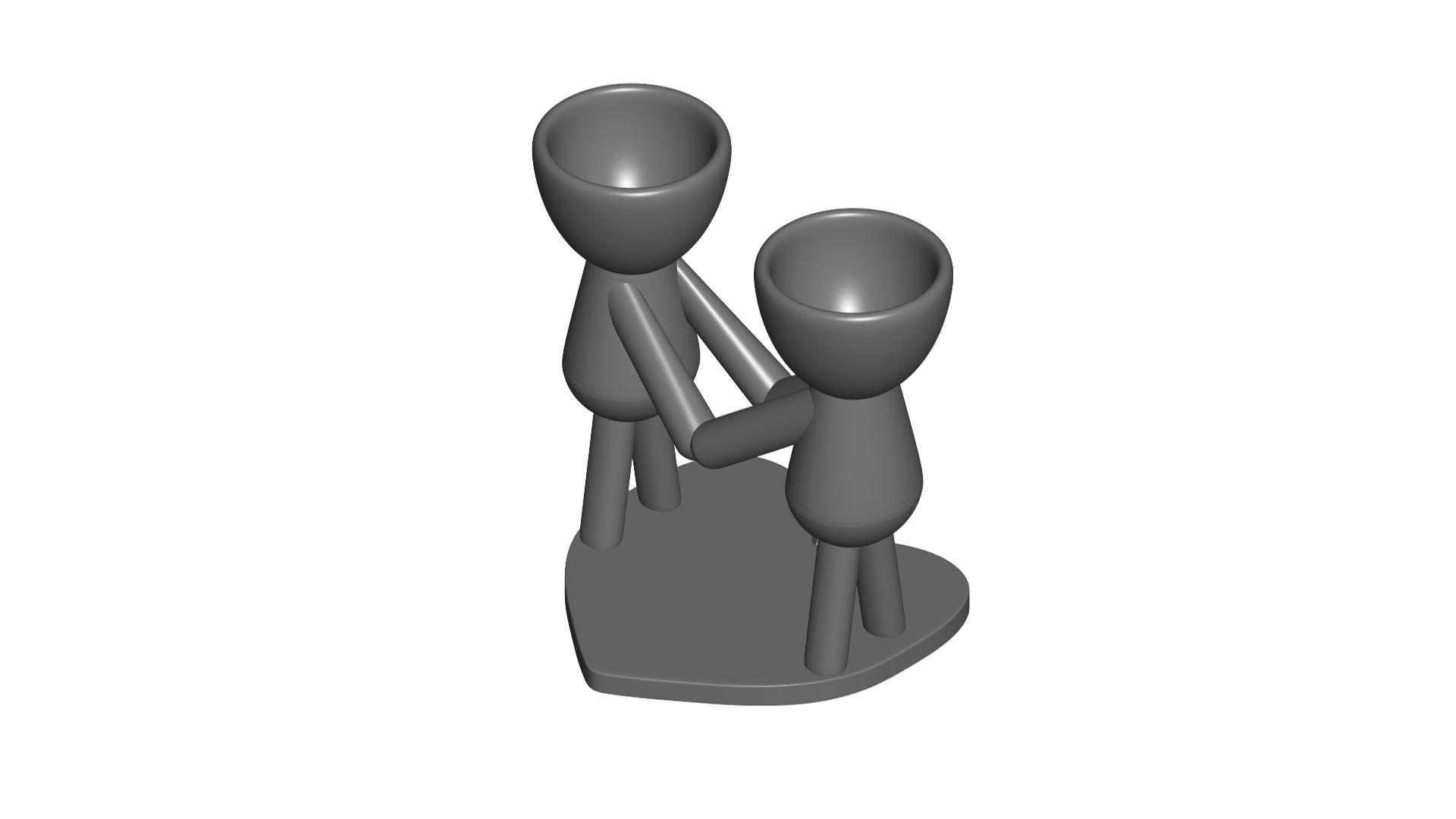 Enamorados_N4_Gris_1.png Télécharger fichier STL gratuit N° 4 VASE POT DE FLEURS ROBERT IN LOVE • Plan à imprimer en 3D, CREATIONSISHI