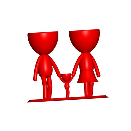 Familia_Rojo_1.png Télécharger fichier STL gratuit Vase de la famille de Robert Vase de fleurs Mère Papa Fils / Fille • Plan pour imprimante 3D, CREATIONSISHI